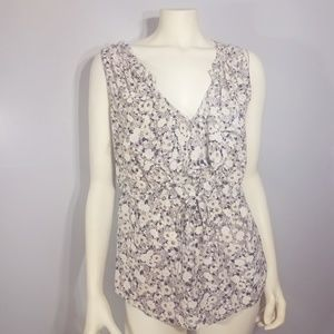 Rebecca Taylor Silk Floral Tank Black Cream 4